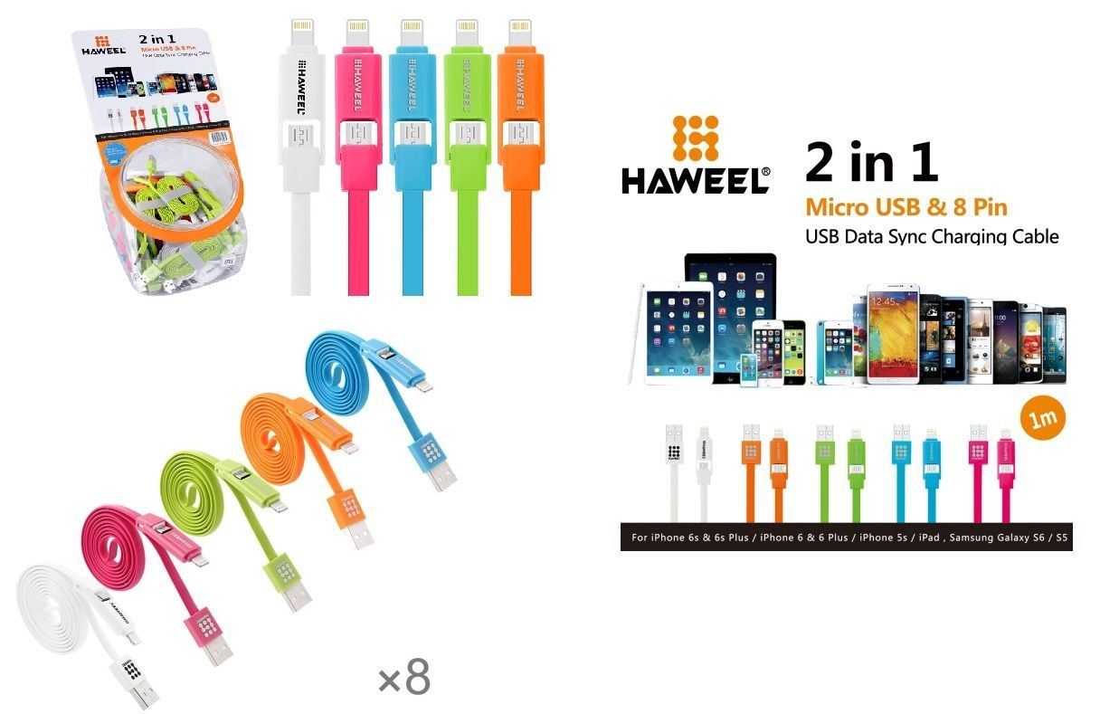 40 Pieces Mixed Colors HAWEEL 2 in 1 Micro USB & 8 Pin to USB Data Sync Charging Cable Kit in Candy Jar,  Length: 1m, Suits Apple, Blackberry, LG, Motorola,  Samsung